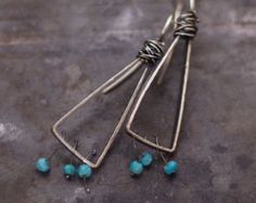 SALE 10 - 20 % OFF use the code • blue turquoise earrings • oxidized 925 sterling silver • triangle earrings • simple everyday