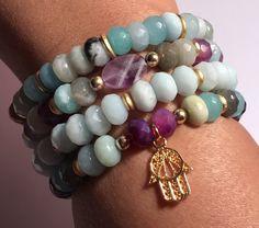 Excited to share the latest addition to my #etsy shop: Stretchy - Hamsa - Amethyst - Amazonite - Stack Bracelets - Boho Stacking Bracelets - Gemstone Bracelets - Evil Eye - Spiritual Bracelets
