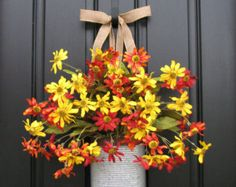 Floral Arrangements - Wall Pockets - Metal Containers - Fall Wreaths - Burlap - Autumn Flowers - Front Door Wreath - Fall Colors