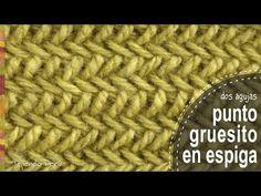 Punto gruesito en espiga tejido en dos agujas o palitos - Tejiendo Perú - YouTube