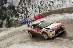 Sebastien Loeb of France and Daniel Elena of Monaco compete in their Citroen Total Abu Dhabi WRT Citroen DS3 WRC during Day Three of the WRC Monte-Carlo on January 18, 2013 in Montecarlo, Monaco.
