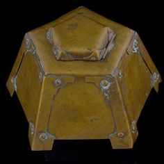 Hammered Brass Arts and Crafts Inkwell
