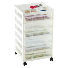 """""""Scrapbook"""" Cart from Container Store. Will it fit under a desk-height workbench?"""
