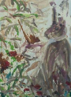 "Saatchi Art Artist Mei Yee Lam; Painting, ""Rabbit sitting with poppies"" #art"