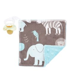 This Topaz & Gray Jungle Tales Pacifier Lovey by Lolly Gags is perfect! #zulilyfinds
