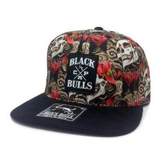Boné Aba Reta Black Bulls Caveira Floral Snapback Top A-68