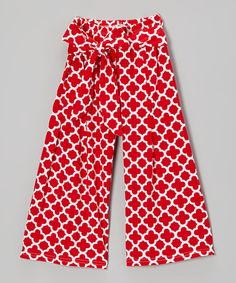 921fa9ad83b3 Another great find on Red Quatrefoil Palazzo Pants - Infant, Toddler &  Girls by Lily Aurora For Ammarie with white poplin top, scarf, and  espadrilles