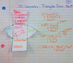 Triangular prism surface area and volume math journal entry. Other nets shown. Math Teacher, Math Classroom, Classroom Ideas, Teacher Tips, Future Classroom, Teacher Stuff, Math Resources, Math Activities, Teaching Geometry