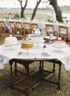 southern cake, cake buffet, wedding cakes, groom cake, cake display, cake tables