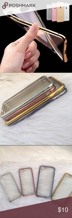 Iphone 7/7+ clear cover Soft rubber cover for iphone 7 and 7+ only available: GOLD for 7plus, DARK SILVER for 7plus, ROSE GOLD for 7, SILVER for 7                      ✨NWT ✨Boutique brand ✨Price firm ✨ For any questions or more pictures just feel free to ask ☺️ ❌ no trades or off app transactions ❌ not Quay Australia, just for exposure Accessories Phone Cases
