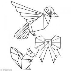 Oiseau écureuil et noeud style origami