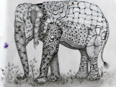 Dusty Darrah tangled the elephant template drawn by Ben Kwok. This art form allows you to place tangles that are realistic and others that are not.