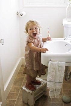 Good orow hygiene! (Trish said at 18 months while brushing.)