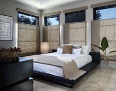 modernes zen schlafzimmer stil futon bett fensterrollos