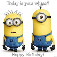 Today Is Your Whaaaaa? birthday happy birthday minion minions happy birthday wishes birthday quotes happy birthday quotes birthday quote funny happy birthday quotes happy birthday humor happy birthday quotes for friends
