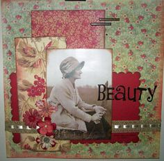 Beauty, ca. 1924 ~ A simply designed heritage page can have great style too! This lovely layout was created from only three rectangular paper pieces, a ribbon and four small flowers on a patterned background! Scrapbook Templates, Scrapbook Designs, Scrapbook Page Layouts, Scrapbook Albums, Scrapbook Paper, Heritage Scrapbook Pages, Vintage Scrapbook, Vintage Typography, Vintage Logos