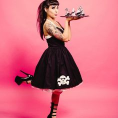Lose the shoes, but the dress is great! Skull Halter Swing Dress Pinup Pin up Retro by CherryTiki on Etsy, $199.95