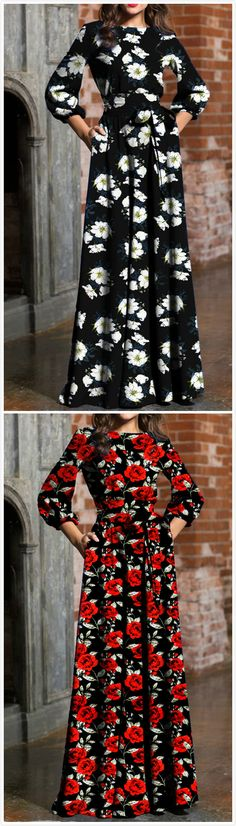 The maxi dress is featuring round neck, three quarter length sleeve, floral print, belt. Modest Fashion, Women's Fashion Dresses, Casual Dresses, Pretty Outfits, Pretty Dresses, Beautiful Dresses, Handmade Clothes, Vintage Outfits, Kamiz