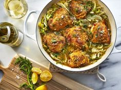 Braised until perfectly tender, Colu Henry's fast-fix chicken thighs get a flavor lift from fennel, Pernod, and lemon. Wine Recipes, Cooking Recipes, Meat Recipes, Cooking Tips, Braised Pork Shoulder, Braised Chicken Thighs, Roasted Root Vegetables, Chicken Thigh Recipes, Chicken Legs