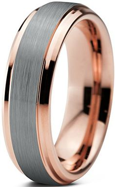 Tungsten Wedding Band Ring 6mm for Men Women Comfort Fit 18K Rose Gold Plated Beveled Edge Brushed Polished Lifetime Guarantee Size 7 Charming Jewelers http://www.amazon.com/dp/B00QBMFF24/ref=cm_sw_r_pi_dp_jg4qwb0C5XX77