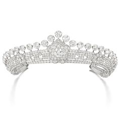 PROPERTY FROM THE ESTATE OF MARY, DUCHESS OF ROXBURGHE - Diamond tiara, Cartier, 1930s - Of geometric design, set throughout with circular-cut diamonds surmounted by a graduated series of thirty-one collet-set diamonds, inner circumference approximately 415mm, signed Cartier, fitted case stamped Cartier, the exterior of the case with monogram and coronet for Mary, Duchess of Roxburghe.