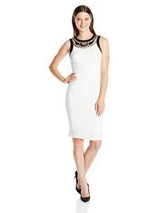 XOXO Juniors Necklace Trim Sheath Dress, Ivory, 5