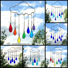 Wire work and stained glass 'Raindrop Cloud' window hangings.