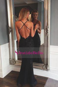 2016 vestidos de baile de la sirena correas espaguetis espalda abierta de tul con Aplliques