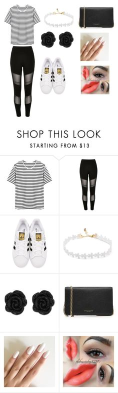 """""""Untitled #42"""" by jenadieu ❤ liked on Polyvore featuring River Island, adidas Originals, Marc Jacobs and stripedshirt"""