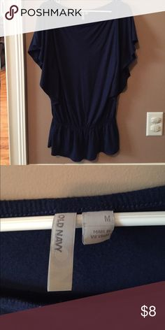 Old navy top Navy blue top. Scoop neck. Singes around the waist area. Light weight and can be dressed up or down. Old Navy Tops Tees - Short Sleeve