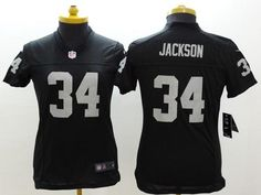 """$23.88 at """"MaryJersey"""" (maryjerseyelway@gmail.com) #34 Bo Jackson, #81 Tim Brown - Nike Raiders Black Team Color Women/Men/Youth Stitched NFL Limited/Elite/Game Jersey"""