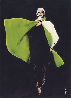 Fashion Illustration green cape : I love this artist. always the perfect amount of abstract. Fashion Illustration by Rene Gruau Fashion Illustration Sketches, Illustration Mode, Fashion Sketches, Fashion Drawings, Pierre Balmain, Lanvin, Fashion Art, Vintage Fashion, Fashion Design