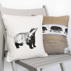 Badger Cushion, handmade by Whinberry & Antler on Folksy, £32.00