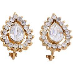 Dainty Trifari TM Teardrop Crystal Clip-On Earrings.  Vintage Jewelry under $25 at Ruby Lane @Ruby Lane