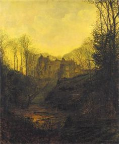A Wet Road By Moonlight, Wharfedale ~ John Atkinson Grimshaw ~ (British, 1836-1893)