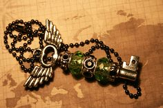 Black and Lime Green Valkyrie Treasure Key