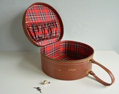 Vintage Round Suitcase / 1950s  Brown Faux Leather Overnight Case Luggage Hat Box with Lock and Key