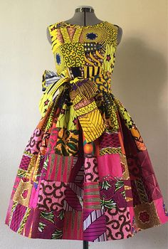 Feminine African Print Patchwork Yellow Pink Gradient Cotton Dress With Pockets and O… – African Fashion Dresses - African Styles for Ladies African Dresses For Kids, African Print Dresses, African Prints, African Fashion Ankara, African Print Fashion, Ghanaian Fashion, African Attire, African Wear, African Women