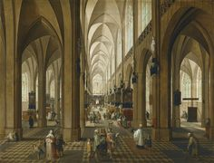 """Pieter Neefs the Elder """"View of the Interior of Antwerp Cathedral"""" 17th century   by Plum leaves"""