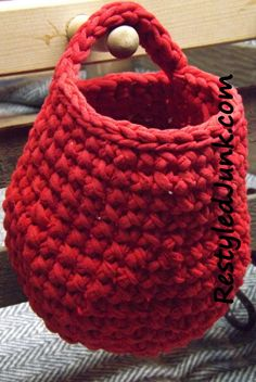 Free Pattern T-Shirt Crochet Hanging Basket Make t-shirt yarn (tarn) and crochet this cute, mini basket.