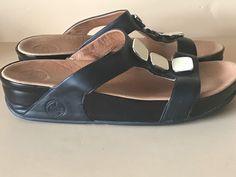 FITFLOP Women's Black Pietra II Leather Sandals Size 11  #FITFLOP #FlipFlops