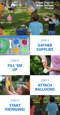 Splash into homemade summer fun! Kids LOVE playing Water Balloon Piñatas in the backyard. It's a super way to let your little ones have a blast, work off some energy and cool off in the process. It's great for you because it's low-cost and provides a terrific opportunity to take fun action shots. Check out this and lots of other fun summertime DIY activity ideas at the link.