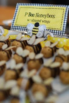 Menu: Bee-bee-que Baked Bee-ns Fruit cups w/ honey yogurt dip Bumble bee Nectar (Lemonade punch) Bee-r (perfect beer, it had a yellow wrap w/ a huge bumble bee on the front of the bottle!) Bee and Hive Sugar cookies P.Bee Honey bees