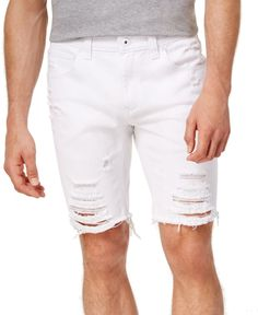 10f2f93df9 INC NEW White Mens Size 36 Distressed Regular Fit Zip-Fly Denim Shorts $59 #