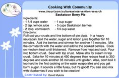 Cooking with Community - Saskatoon Berry Pie recipe contributed by David Mykota for the Honouring Our Strengths: Indigenous Culture as Intervention in Addictions Treatment (HOS:CasI) project Saskatoon Berry Pie, Gambling Addiction, Food Shows, Recipe Cards, Card Games, Knowledge, David, Community, Culture