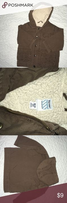 Old Navy Sherpa lined coat Cute, in great condition! Old navy Sherpa lined coat. Lining in sleeves is polyester. Cotton outside. Brown 18-24M Old Navy Jackets & Coats