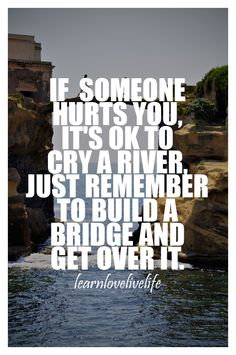 You can cry a river if someone hurts you, but build that bridge and get over it. Priceless <3