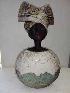 Sculpture africaine céramique raku impression de dentelle