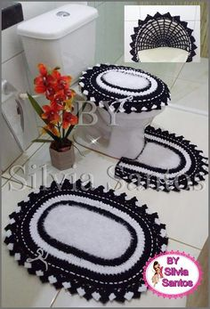 Crocheted Bathroom Set Ideas for Crochet Lovers Crochet Doily Rug, Crochet Curtains, Crochet Round, Crochet Stitches, Free Crochet, Owl Bathroom, Bathroom Sets, Knitting Patterns, Crochet Patterns