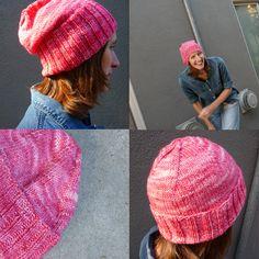tosh dk geranium pink beanie knitting pattern.  Free pattern on this site